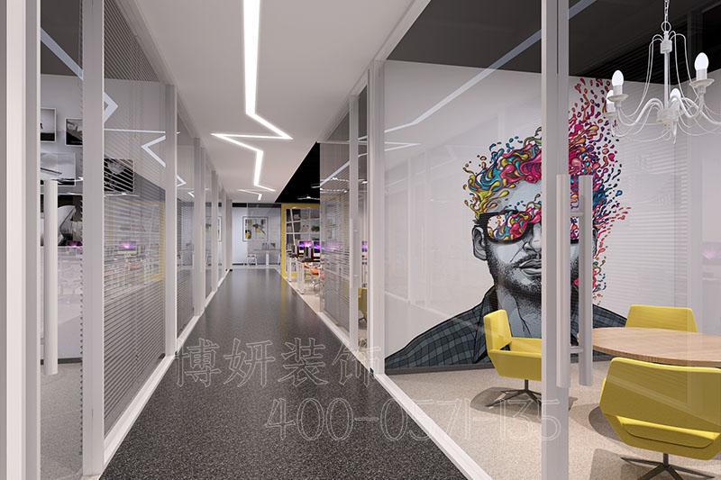 山东科技公司办公室装修-科技办公室装修案例实景图片