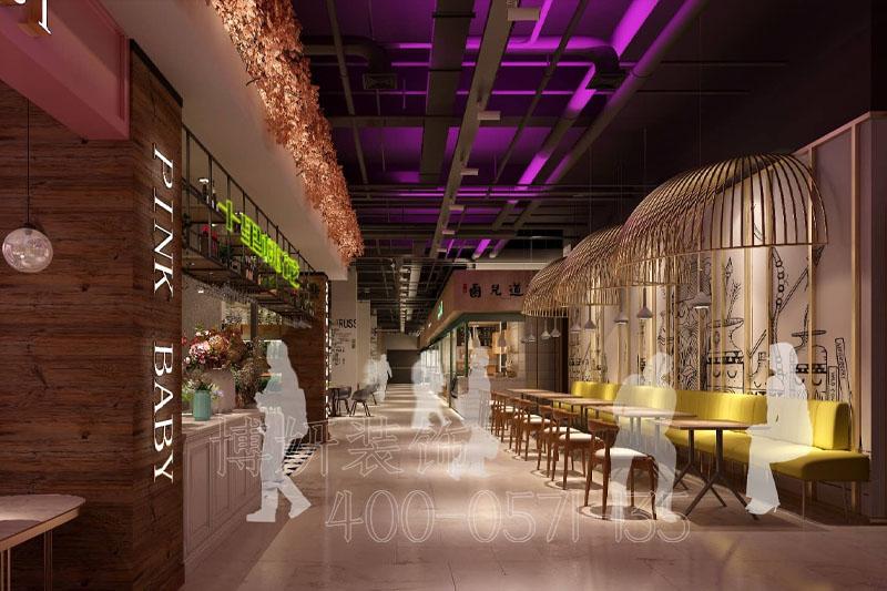 杭州美食广场装修,美食广场装修设计,杭州装修公司
