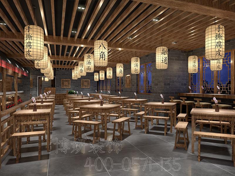 杭州专业中式快餐店装修设计风格,附近快餐店装修公司,简简单单一日三餐