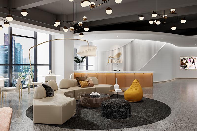 杭州鲸禧公司办公室装修效果图-专业直播公司设计